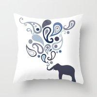 Multi-Blue Paisley Eleph… Throw Pillow