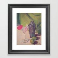 Martini, Shaker & Limes Framed Art Print