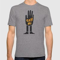 Say Hi. Mens Fitted Tee Tri-Grey SMALL