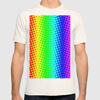 RAINBOW COLOR DOT Mens Fitted Tee Natural SMALL