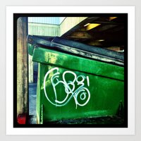Green graffiti dumpster. Art Print