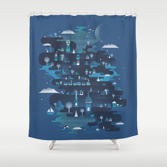 Land of the Blue Mountains Shower Curtain
