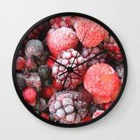 Frozen Berries Wall Clock