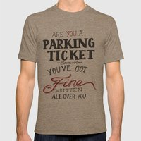 parking ticket red on  grey Mens Fitted Tee Tri-Coffee SMALL