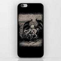 iPhone & iPod Skin featuring The Rise of Great Cthulhu by pigboom el crapo
