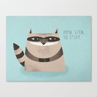 Sneaky Raccoon Canvas Print