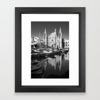 Valletta Marina Reflecti… Framed Art Print
