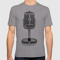 Vintage Microphone Mens Fitted Tee Athletic Grey SMALL