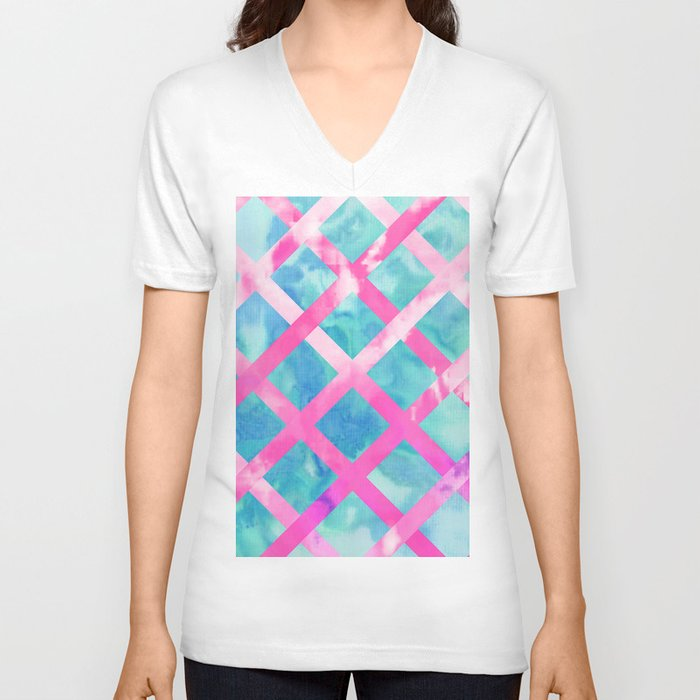 Bright pink purple lattice stripes teal watercolor unisex for Bright purple t shirt