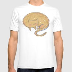 Sleepy Kitty Dreams White Mens Fitted Tee SMALL