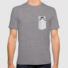 Kitten Nap Pocket Mens Fitted Tee Tri-Grey SMALL