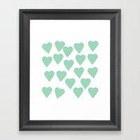 Hearts Mint Framed Art Print