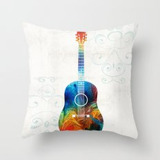 Colorful Guitar Art by Sharon Cummings Throw Pillow