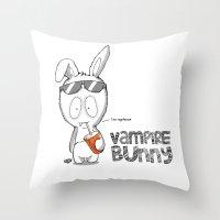 Vampire Bunny! Throw Pillow
