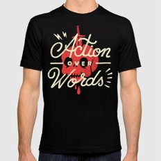 Action Over Words Black Mens Fitted Tee SMALL