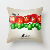 Merry Christmas 3D With … Throw Pillow