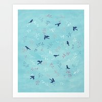 Art Print featuring Winter Birds by Diana Toledano