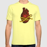 Heart of a Crime Scene Mens Fitted Tee Lemon SMALL