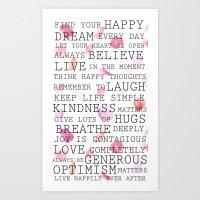 Inspirational Words Rose… Art Print