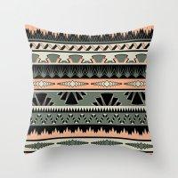 art deco stripes - salmon Throw Pillow