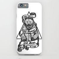 iPhone & iPod Case featuring The Bear with Beard and Beer by T-SIR