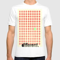 be different White SMALL Mens Fitted Tee