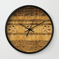 African decoration on wood Wall Clock