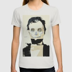 Abraham Lincoln (skull) Womens Fitted Tee Silver SMALL