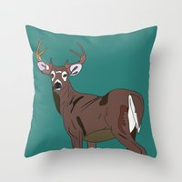 Deer In The Green Throw Pillow