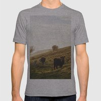 Cattle Grazing On Mounta… Mens Fitted Tee Athletic Grey SMALL