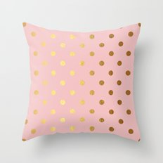 Golden polka dots on rose gold backround   Throw Pillow