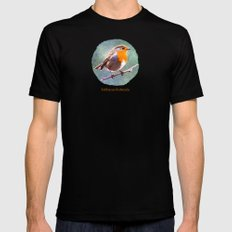 Erithacus Rubecula Black Mens Fitted Tee SMALL