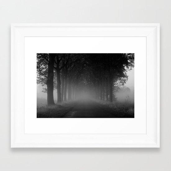 Avenue of trees in the fog white black Framed Art Print