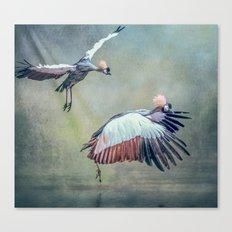 Cranes arriving Canvas Print