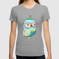 Bobble Hat Owl. Womens Fitted Tee Tri-Grey SMALL