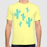 Linocut Cacti Desert Mens Fitted Tee Lemon SMALL
