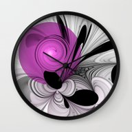 Wall Clock featuring Abstract Black And White… by Gabiw Art