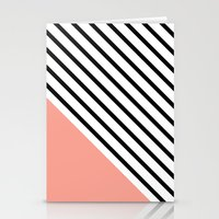 Diagonal Block - Pink Stationery Cards