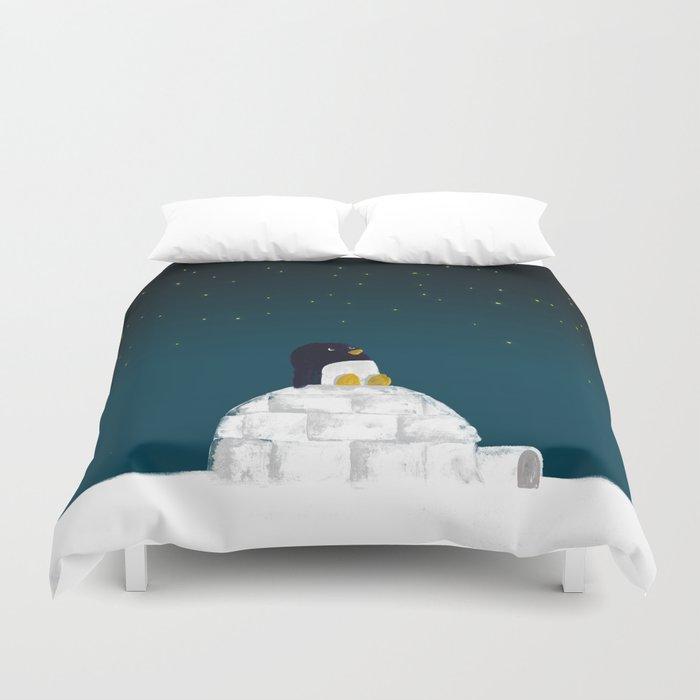 Star Gazing Penguin S Dream Of Flying Duvet Cover By