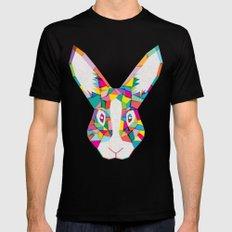 Rainbow Rabbit Mens Fitted Tee Black SMALL