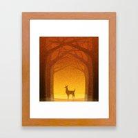 Sunrise Deer Framed Art Print