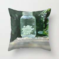 Queen Anne's Lace/Jar w/ bokeh Throw Pillow