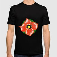Orange Flower Mens Fitted Tee Black SMALL