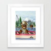 Fisherman Bear Framed Art Print