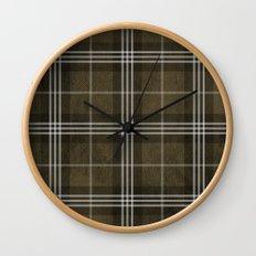 Grungy Brown Plaid Wall Clock