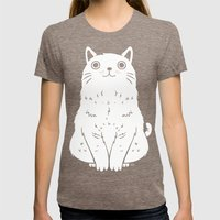Meow Womens Fitted Tee Tri-Coffee SMALL