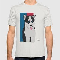Siberian Husky Mens Fitted Tee Silver SMALL