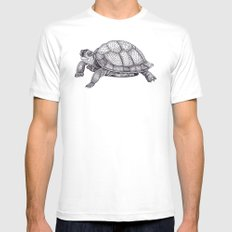 Turtle Pattern White Mens Fitted Tee SMALL