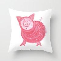 Little Piggy! Throw Pillow