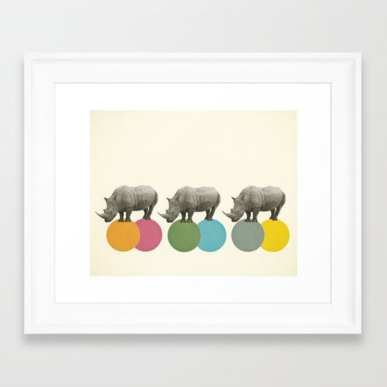 Rambling Rhinos Framed Art Print